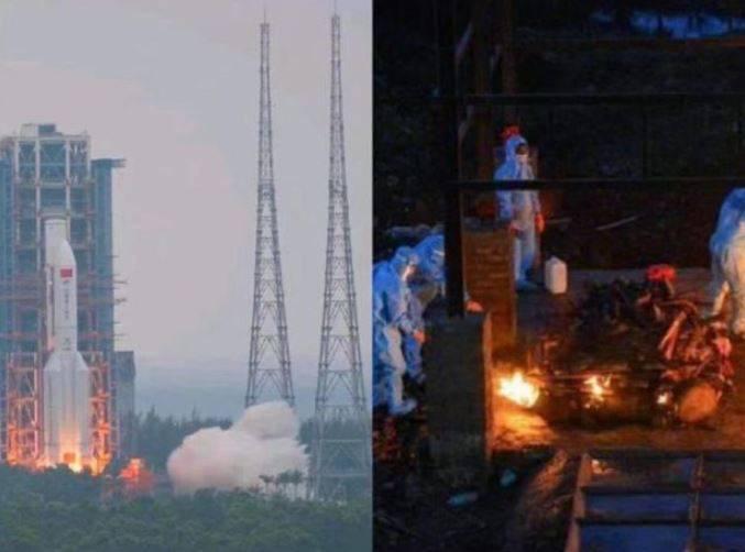 「中国长安网」1日发文「中国点火VS印度点火 #印度单日新增确诊40万例#」,并配上一张合成图片,左边是中国发射火箭现场,右边则是印度火化染疫死亡的遗体的照片。(撷取自微博)(photo:LTN)