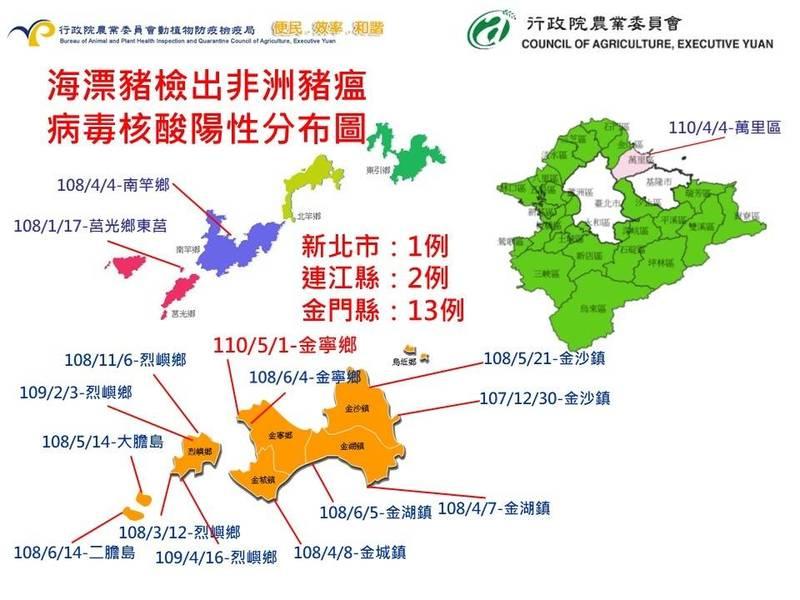 防檢局表示金門新增一個海漂病死豬確診為非洲豬瘟陽性,基因定序後發現和中國的病毒株百分百相同,推斷該海漂豬來自中國。(防檢局提供)
