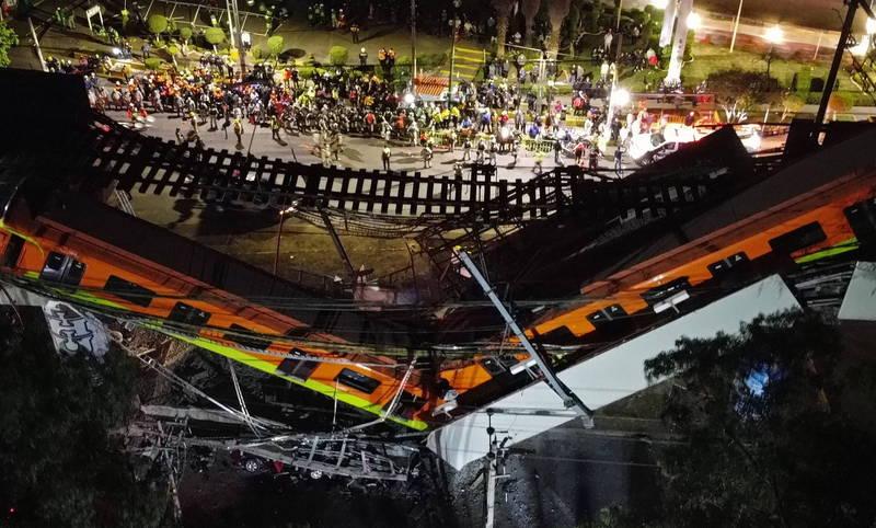 驚悚瞬間曝光!墨西哥高架橋坍塌列車墜地 至少釀23死