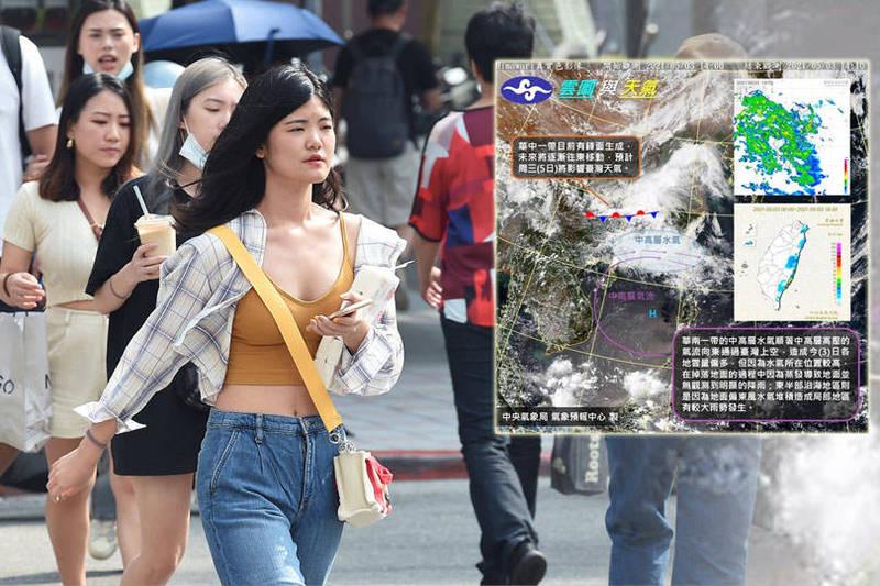 明天鋒面通過台灣上空,東半部地區要嚴防局部大雨發生。(記者蕭玗欣翻攝、資料照;本報合成)