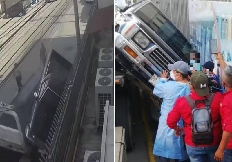 宏都拉斯近日發生一起荒謬意外,一名車主不滿愛車被拖吊,憤而爬上吊車,進入車內狂催油門,導致車輛從吊車車面滑落,吊車司機當場被砸死。(翻攝自推特)