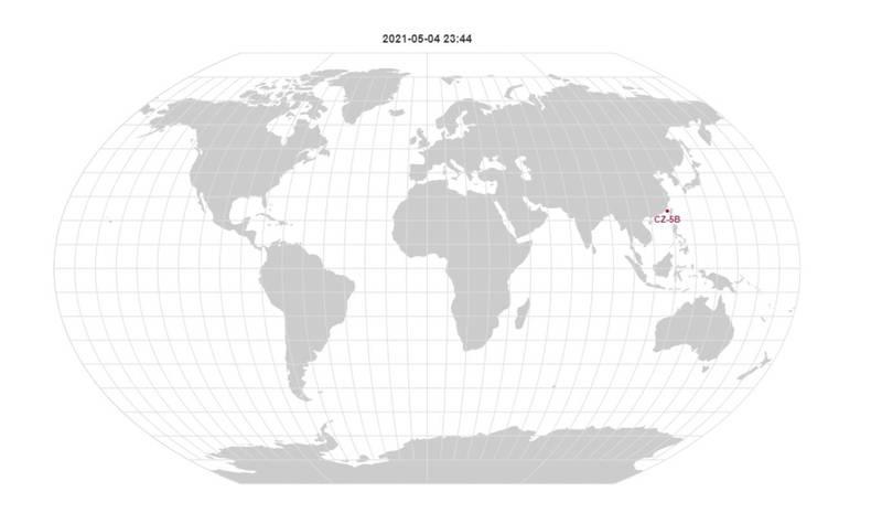 美國軍方將長征火箭不受控殘骸命為「2021-035B」,持續監控中,預估今深夜會經過台灣上空。(圖擷自orbit.ing-now.com)