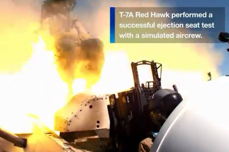 The T-7A Red Eagle trainer aircraft, jointly produced by American aircraft manufacturer Boeing and Swedish Saab, has recently completed ejection seat testing.  (Taken from Boeing's Twitter)