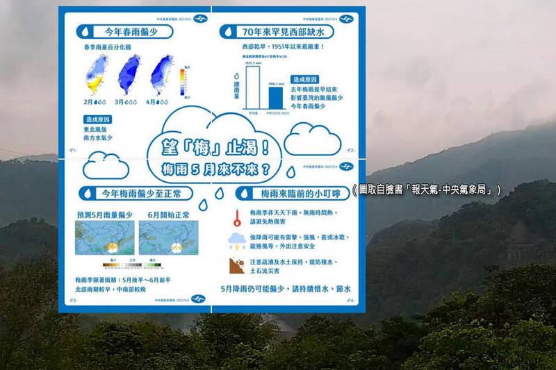 中央氣象局指出,梅雨季較明顯的雨期可能要等到5月下旬後才會出現。(圖取自臉書「報天氣-中央氣象局」、資料照;本報合成)