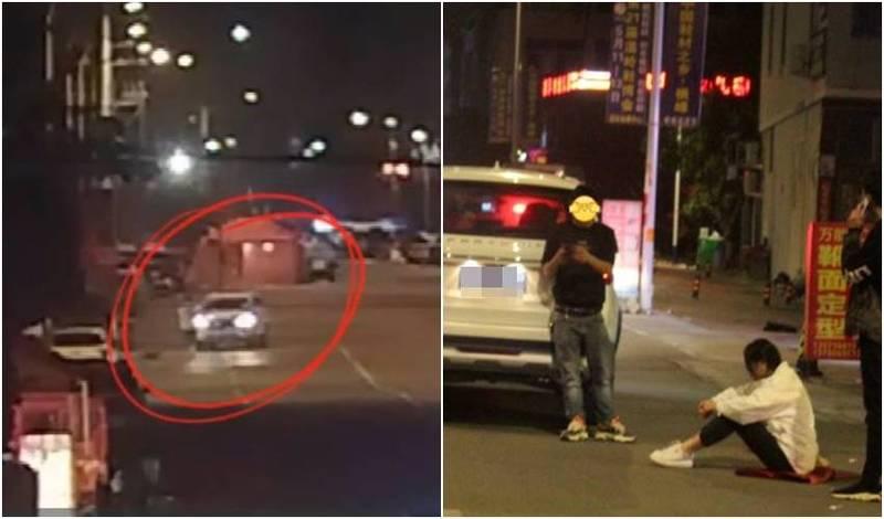 陳男搭訕妹子不成,竟開車追撞女子,女子癱坐在地上。(圖翻攝自微博)