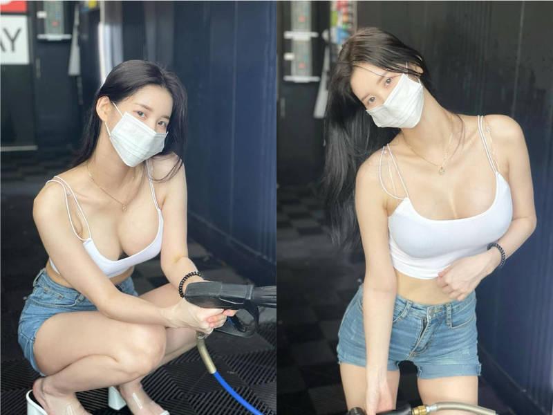 DJ Miu最近在YouTube放出一段到洗車場自助洗車的影片,她身穿白色細肩帶、超短牛仔褲,豐滿豪乳和白嫩螞蟻腰在洗車過程中展露無遺。(圖擷取自IG)