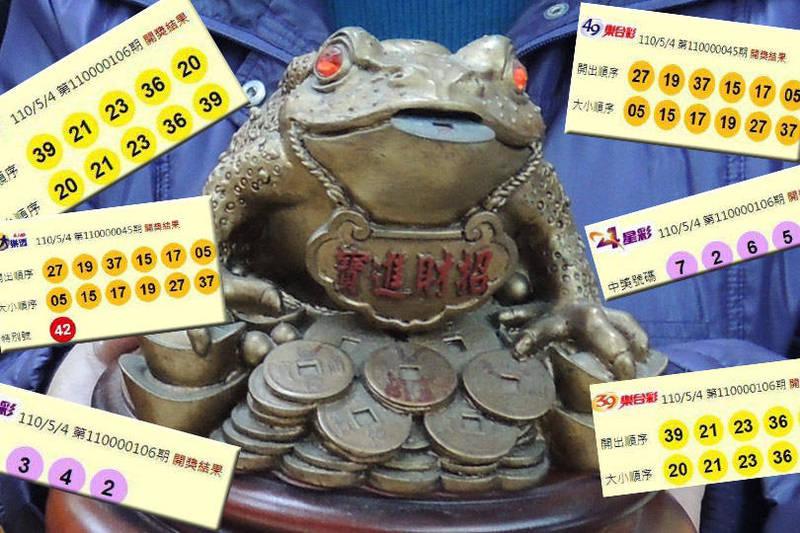 今(5月4日)晚間開獎的第110000106期今彩539,頭獎開出1注。(圖擷取自台灣彩券官網、資料照;本報合成)