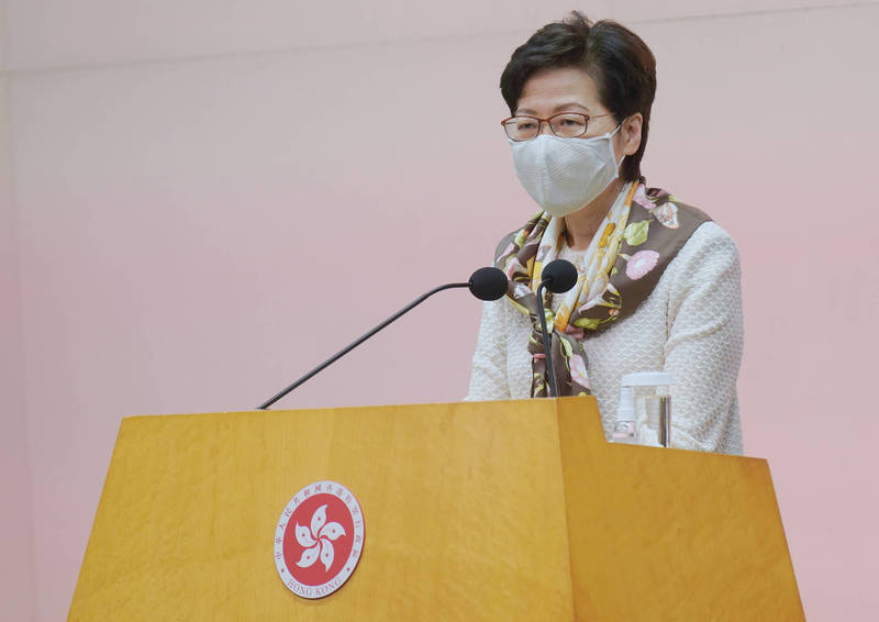 Hong Kong Chief Executive Carrie Lam Cheng Yuet-ngor announced that he would legislate against fake news.  (Associated Press)