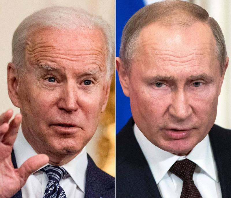 美總統拜登(左)希望能在6月與俄總統普廷(右)會面。(法新社)