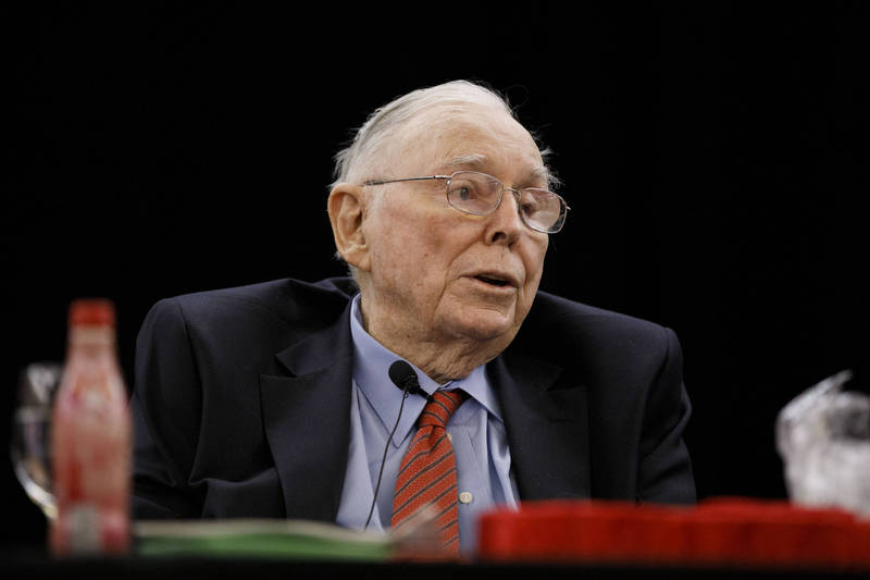 波克夏海瑟威(Berkshire Hathaway)副董事長孟格(Charles Munger)。(彭博)