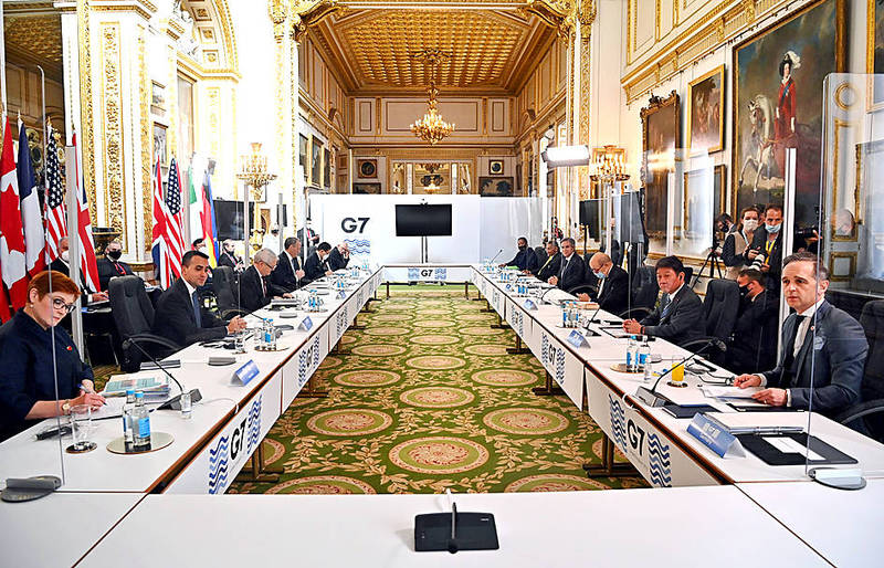 Attendees take part in the G7 foreign ministers' meeting in London yesterday. Photo: Reuters