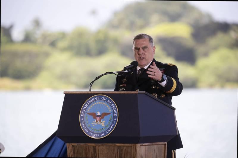 美國參謀首長聯席會議主席麥利(見圖)稱世界正進入潛在國際動盪時代。圖為麥利4月30日到夏威夷美軍基地參加印太司令交接典禮。(美聯社)