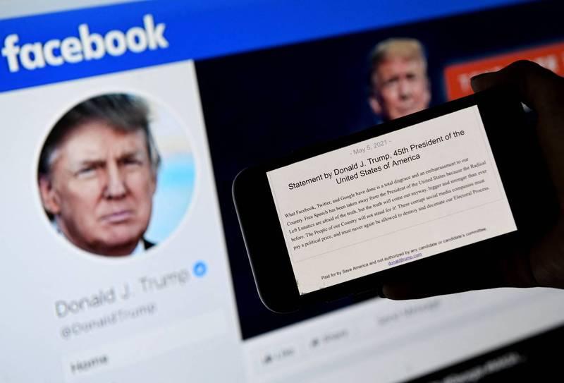 美國前總統川普無法重返臉書推特等社群平台,氣得大罵社群媒體業者不要臉。(法新社)