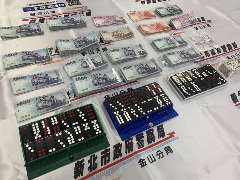 金山警方破獲天九牌賭場。(記者林嘉東翻攝)