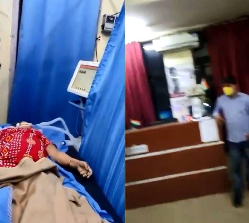印度哈里亞納邦(Haryana)一地區醫院情況近日曝光,加護病房不見醫護,床上只見患者屍體。(翻攝推特)