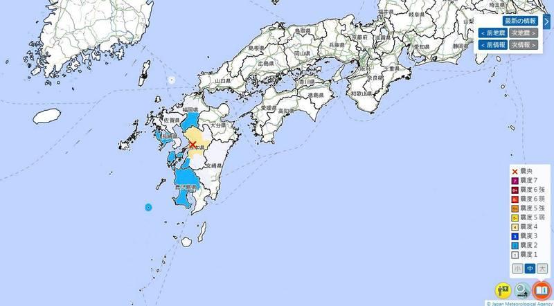 熊本縣熊本市今早發生規模4.0極淺層地震。(圖擷取自日本氣象廳)