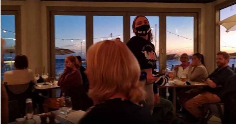 澳洲女子彼得森日前和朋友闖入一間海鮮餐廳,怒斥現場客人虐待動物。(圖翻攝自vganbooty個人IG)
