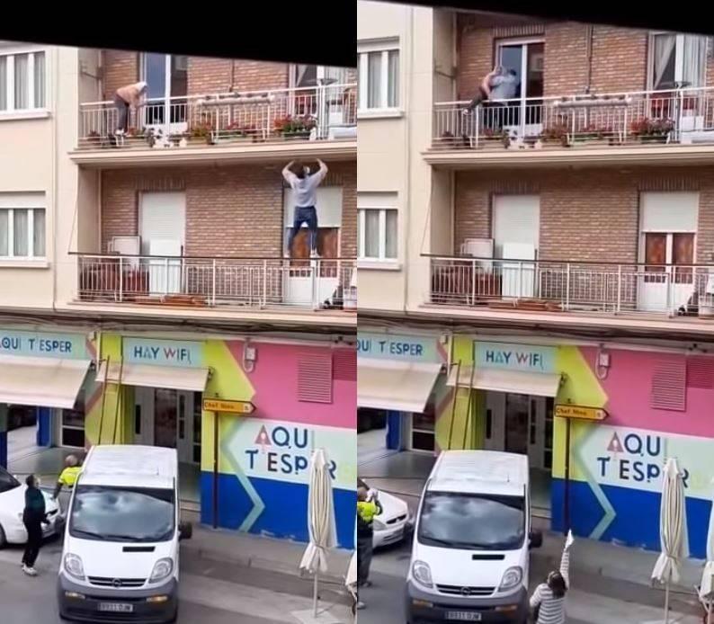 80歲奶奶受困陽台 正義哥徒手爬三樓救援