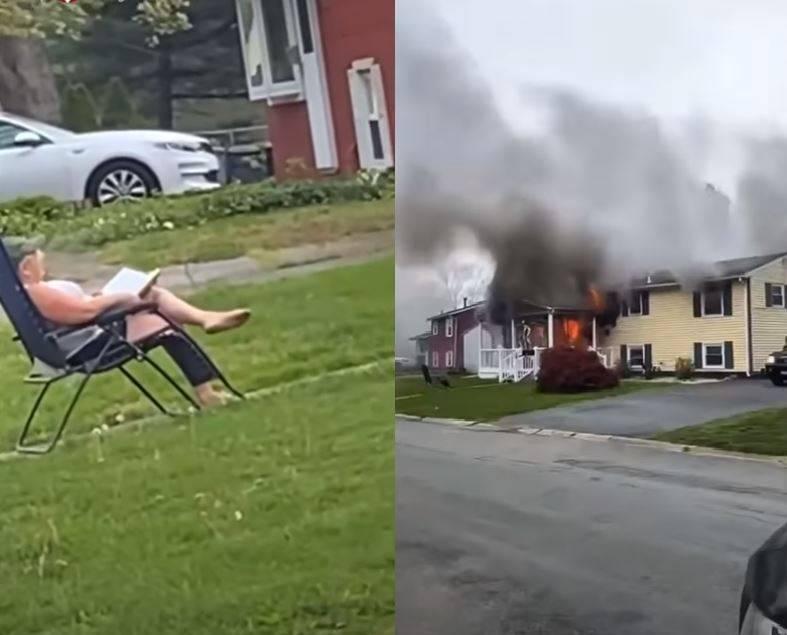 女子縱火後,竟坐在前方草坪「觀賞」大火吞噬房屋。(圖片截取自youtube)