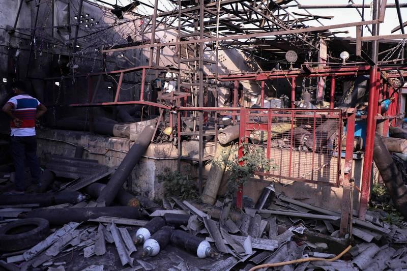 印度北方邦首府勒克瑙一間製氧工廠昨天驚傳爆炸,造成3死8傷。(法新社)