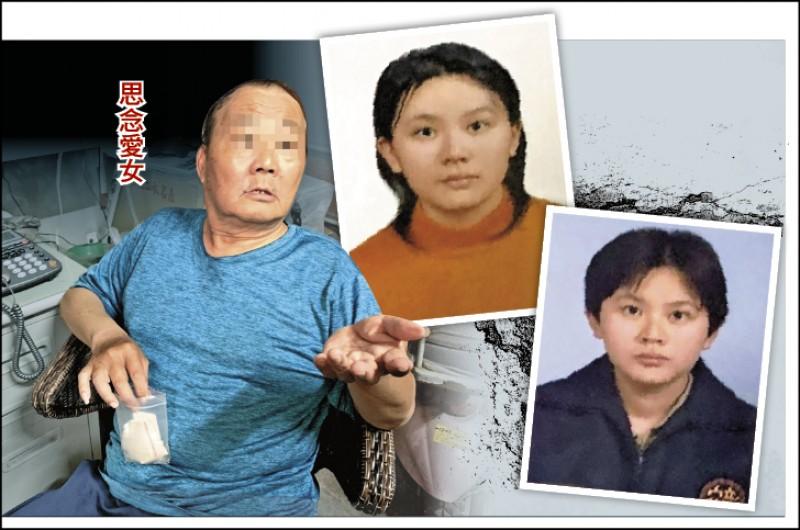 中正大學劉姓女學生(小圖)失蹤14年,,其父(大圖)昨聲聲呼喚,盼女兒趕快回家。(記者湯世名攝及翻攝)