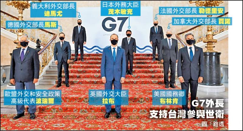 七大工業國集團(G7)外長五日在會後公報中首度提及台灣,明確表示支持台灣參與世界衛生組織論壇與世界衛生大會,並重申強烈反對破壞台海現狀。圖為G7外長五月四日合影。(路透)