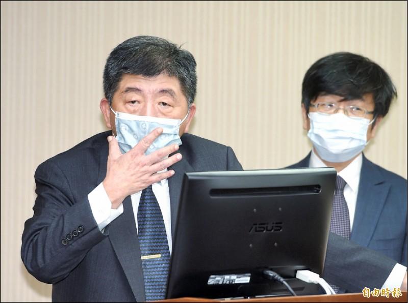 衛福部長陳時中昨在立法院衛環委員會表示,台灣今年接到WHA邀請函的可能性比以往都大。(記者方賓照攝)