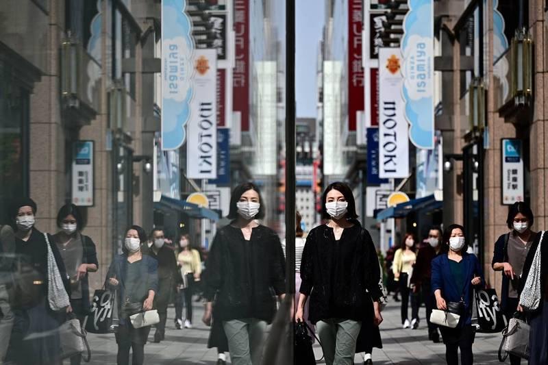 武漢肺炎(新型冠狀病毒病,COVID-19)疫情持續影響日本,目前東京都、大阪府、京都府及兵庫縣等4地區正實施緊急事態。圖為東京街景,示意圖。(法新社)