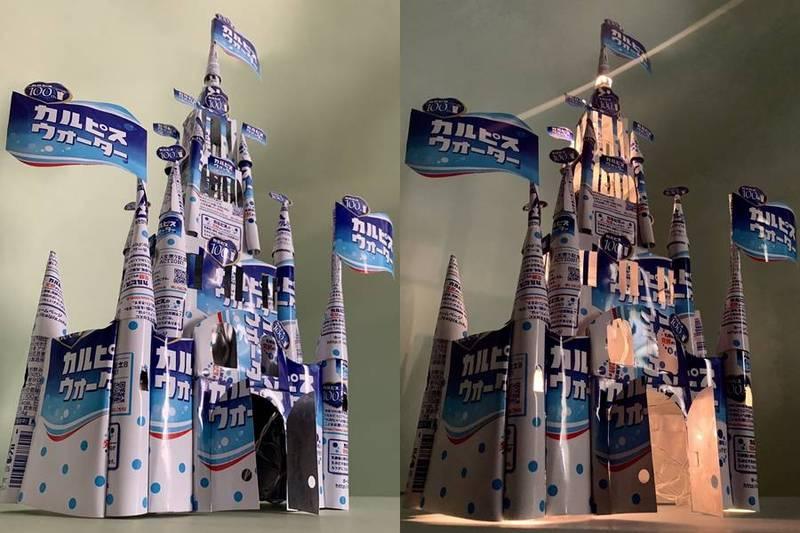 「鋁罐人」曾用可爾必思的鋁罐創造出一座城堡,更在裡頭安裝了燈光。(圖取自推特「@yamarinPD」)