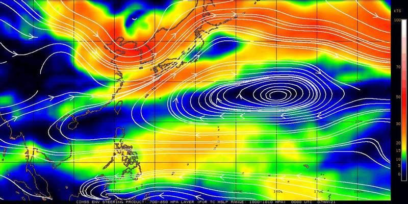 鄭明典PO圖說明,很多因素影響高壓範圍,其中交疊有季內振盪的乾區也正影響台灣,所以台灣會感受到明顯乾和熱。(圖取自鄭明典臉書)