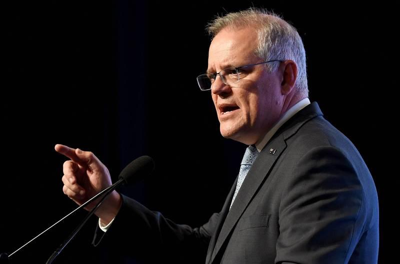 澳總理莫里森表示,會支援美國及盟友應對台海衝突。(法新社)