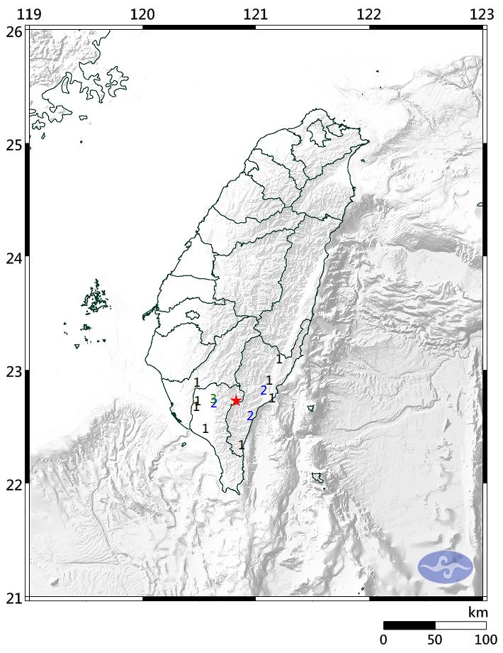 上午9時04分32秒許,屏東縣政府東方35.4公里發生芮氏規模4.3地震。(擷取自中央氣象局)
