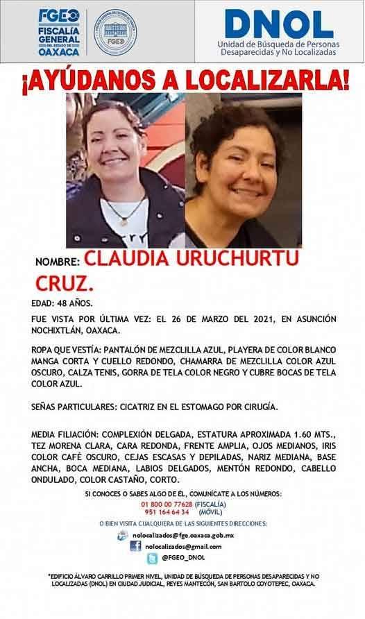 墨西哥反貪腐人士烏魯丘圖(Claudia Uruchurtu),日前參加示威活動卻人間蒸發,檢方展開追查並於7日逮捕了當地市長和警察局長。(圖擷自Claudia Uruchurtu協尋網站)