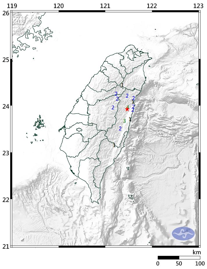 花蓮縣秀林鄉中午12時35分許發生芮氏規模4.0地震,當地有感明顯搖晃,測得最大震度為4級。(擷取自中央氣象局)
