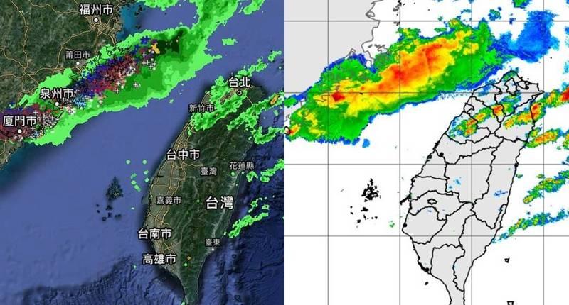 天氣風險公司指出最新的大雷雨位置,目前福建沿海鋒面尾端出現密集閃電訊號,台灣可能接著受到鋒面影響。(左圖取自天氣風險,右圖取自中央氣象局)
