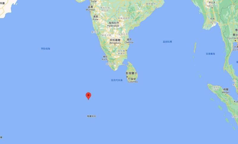 根據美軍觀測以及中國官方消息指出,長征火箭殘骸已於今上午10點24分墜落印度洋海域。(圖擷自GoogleMap)