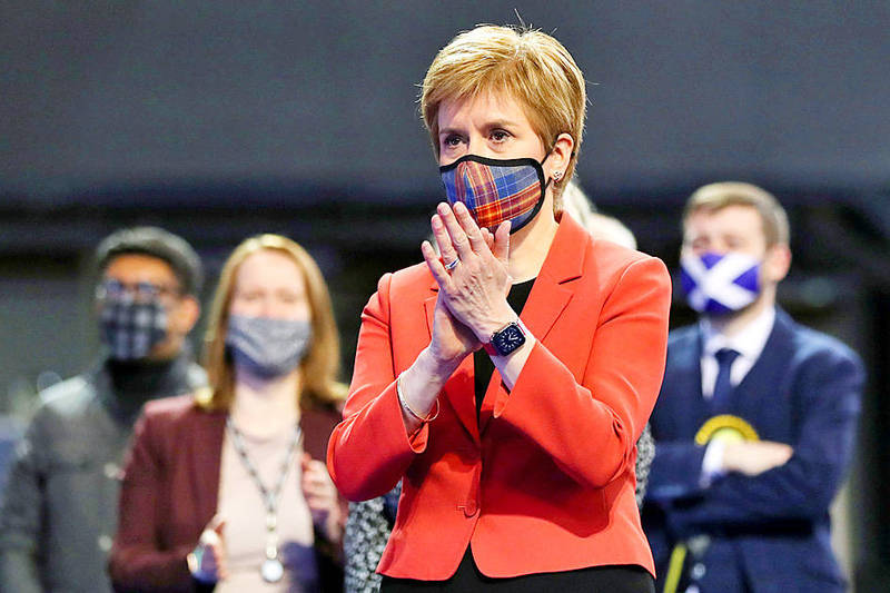 Scottish First Minister Nicola Sturgeon visits a counting center as votes are being counted for the parliamentary election in Glasgow, Scotland, on Friday. Photo: Reuters
