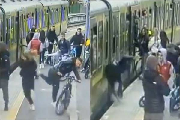 愛爾蘭首都都柏林(Dublin)發生1起騷擾事件,1名17歲少女在霍斯火車轉乘站(Howth Junction train station)趕著搭火車,先是1名陌生男子朝她吐口水,隨後遭另名男子用腳踏車前輪用力撞上,重心不穩,向後摔落列車與月台間的隙縫。(圖擷取自Twitter@minnyshell)