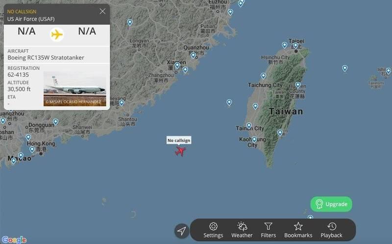 美軍RC-135W電偵機等3架軍機,今日也在西南空域巡航。(圖取自臉書粉專「新‧二七部隊 軍事雜談」/twitter CCCDSLR、360°Radar)