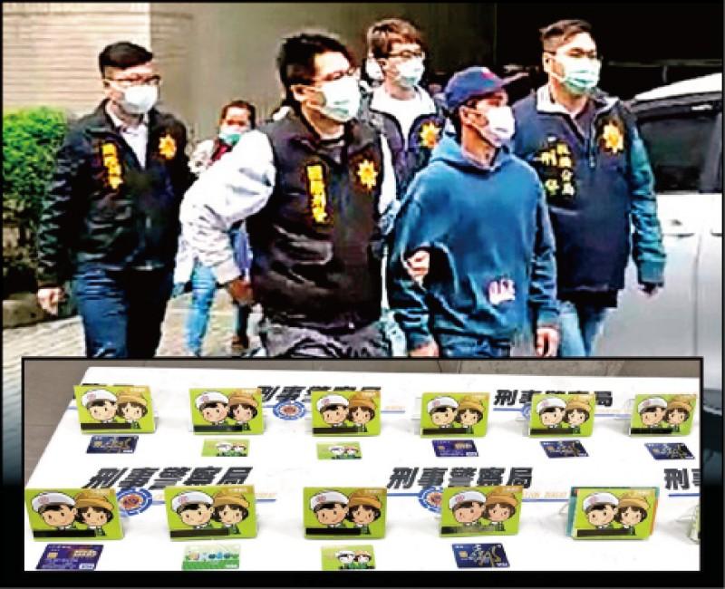 警方逮車手頭菲律賓籍男子Eda,查扣大批郵局及銀行人頭帳戶。(記者姚岳宏攝及翻攝)