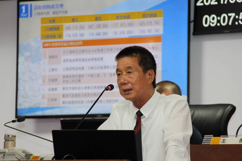 台東市長張國洲今天在市代會施政報告。(台東市公所提供)