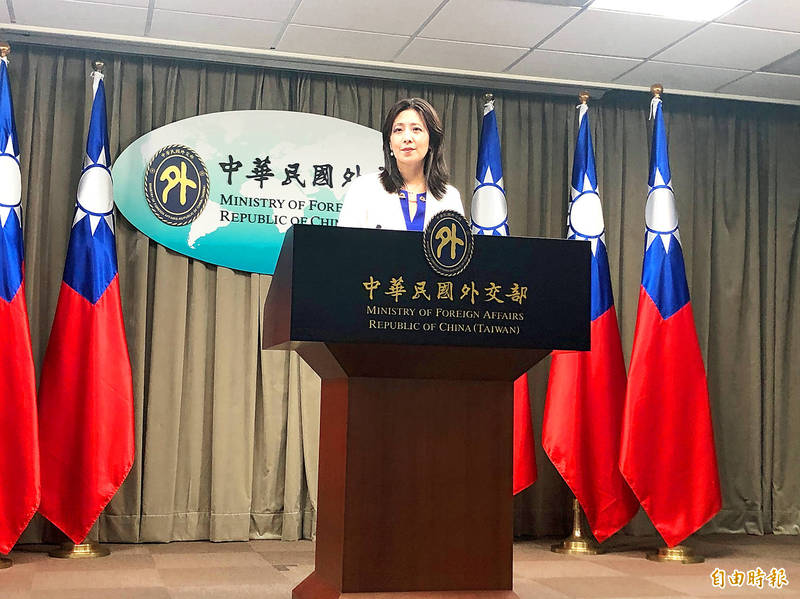 Ministry of Foreign Affairs spokeswoman Joanne Ou speaks at a news conference at the ministry in Taipei yesterday. Photo: Lu Yi-hsuan, Taipei Times