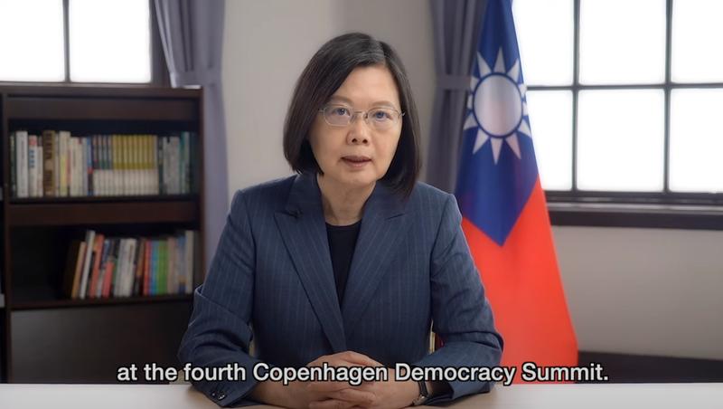 蔡英文總統(見圖)11日在「民主聯盟」(Alliance of Democracies,AoD)舉辦之第四屆「哥本哈根民主高峰會」視訊會議發表演說。(圖取自總統府官網)