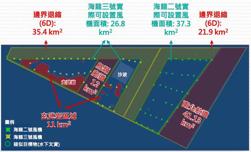 海龍2號、3號直接的航道(綠色部分)可能成為鳥類陷阱。(取自環評資料)