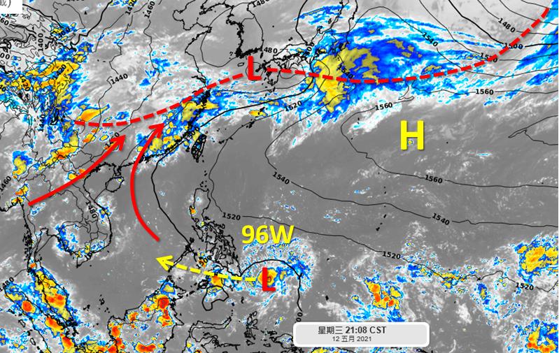 菲律賓東南方的擾動96W,未來將逐漸穿越菲律賓往南海移動,但吳聖宇說,目前的結構並不好,穿越菲律賓陸地的過程中有可能逐漸就會減弱,發展性應該不是很高。(擷取自吳聖宇臉書)