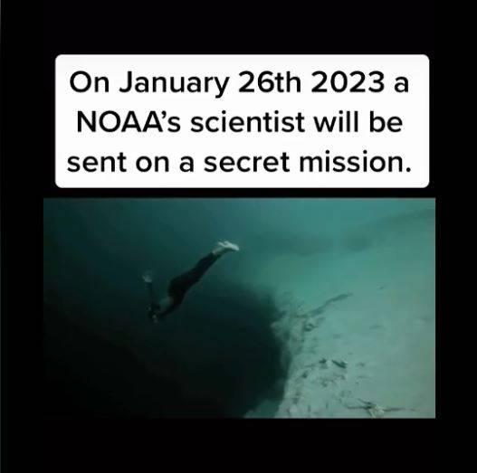 抖音紅人《2582年的時間旅人》表示美國國家海洋暨大氣總署(NOAA)2023年將在深海發現可怕生物,但不會對外公開。(圖擷取自《TikTok @timetraveler2582》)