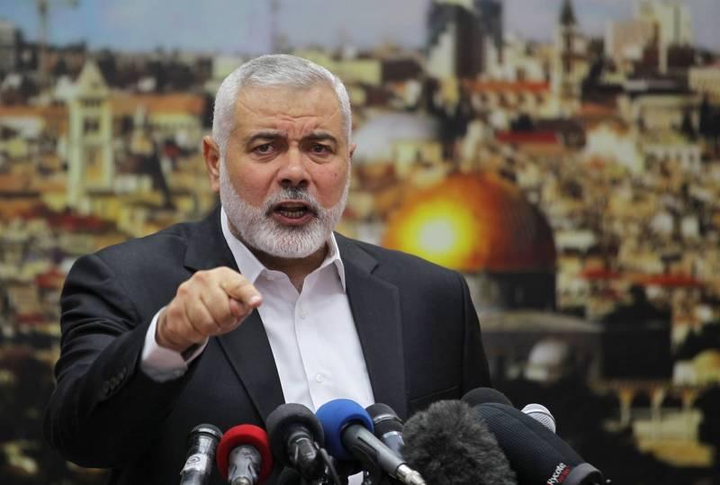 哈瑪斯領導人哈尼雅(見圖)稱會持續對以色列進行火箭彈襲擊。(法新社)