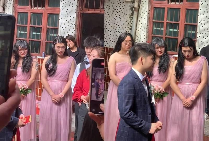 中國河南平頂山一名女子參加婚禮,結果竟找來3名「彪形壯漢」來當「伴娘天團」,引發網友熱議。(圖翻攝自微博)