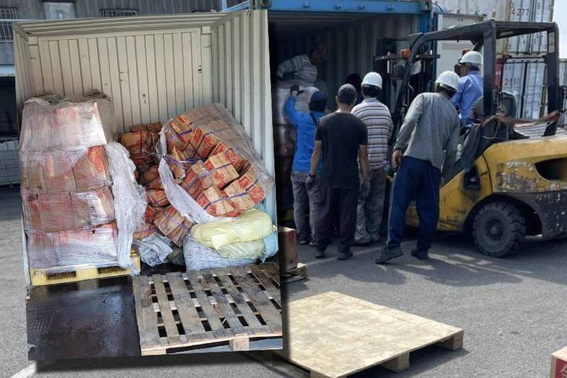 貨櫃裡的貨物卻是準備運往台灣本島的端午節配售酒,初估損失超過50萬元。(本報合成)