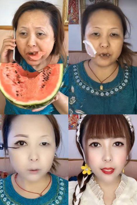 一名日本西瓜大媽,未料上好全妝後竟搖身一變成為大正妹,還有網友指她神似知名AV女優波多野結衣。(圖翻攝自日本《2ch》論壇)